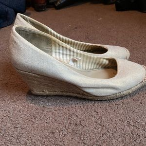 Cream and gold linen wedges